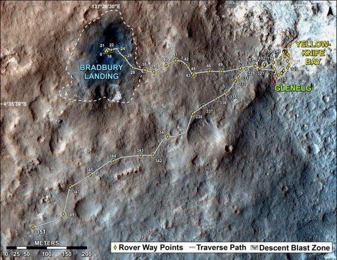Droga pokonana przez łazik w pierszym roku swojej misji (NASA)