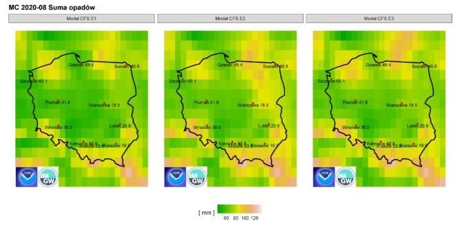 Prognozowane sumy opadów w sierpniu 2020 r. dla wybranych miast według modelu IMGW-PIB na tle prognoz CFS2 (IMGW)