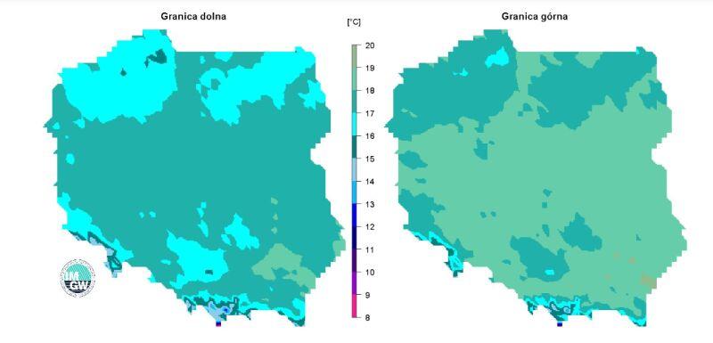 Granice normy średniej temperatury powietrza w sierpniu (IMGW)