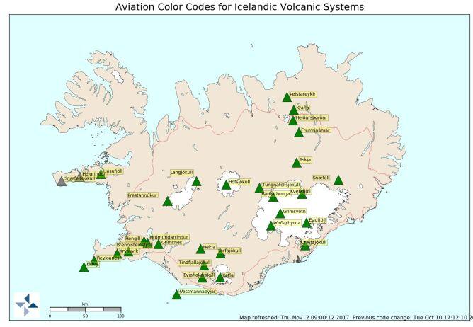 Mapa wulkanów na Islandii (Icelandic Met Office)