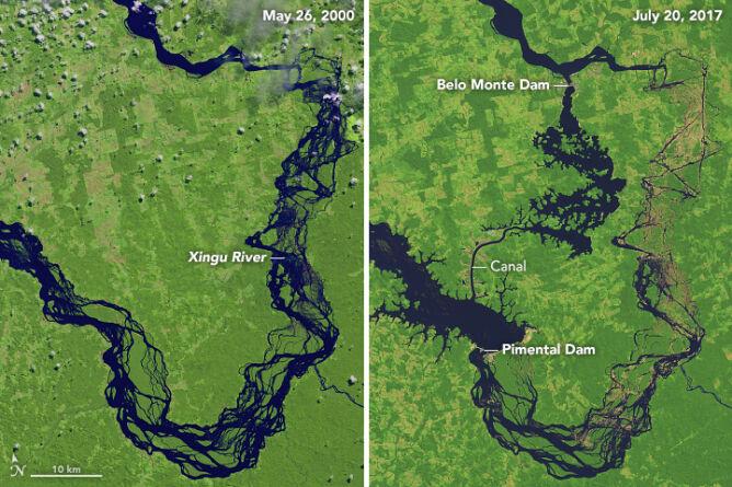 Rzeka zmieniła swój bieg (NASA/Joshua Stevens)