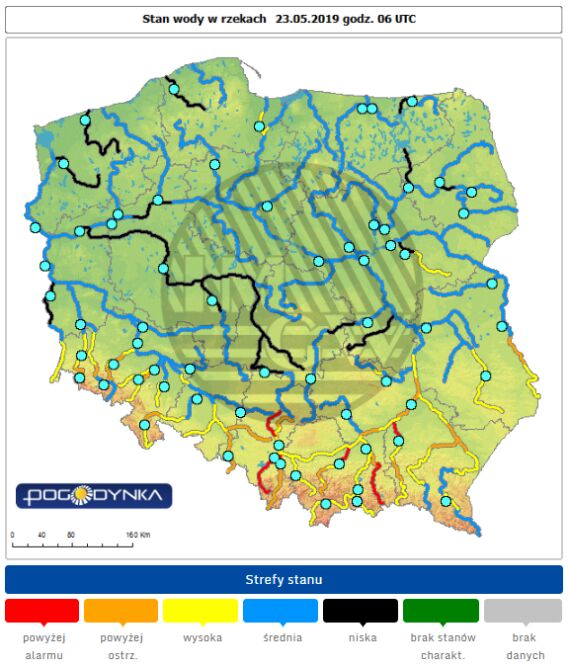 Stan rzek w Polsce z 23 maja (IMGW)